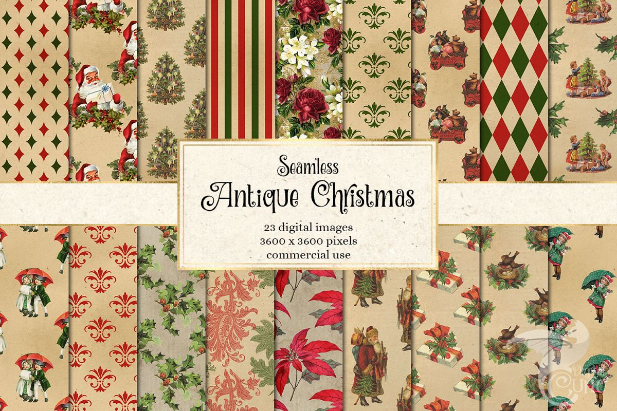 Antique Christmas Digital Paper example image 1
