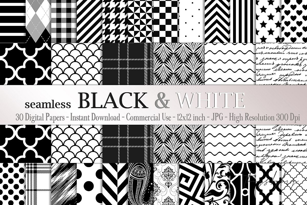 30 Seamless Black & White Basic Common Home Decor Patterns example image 1