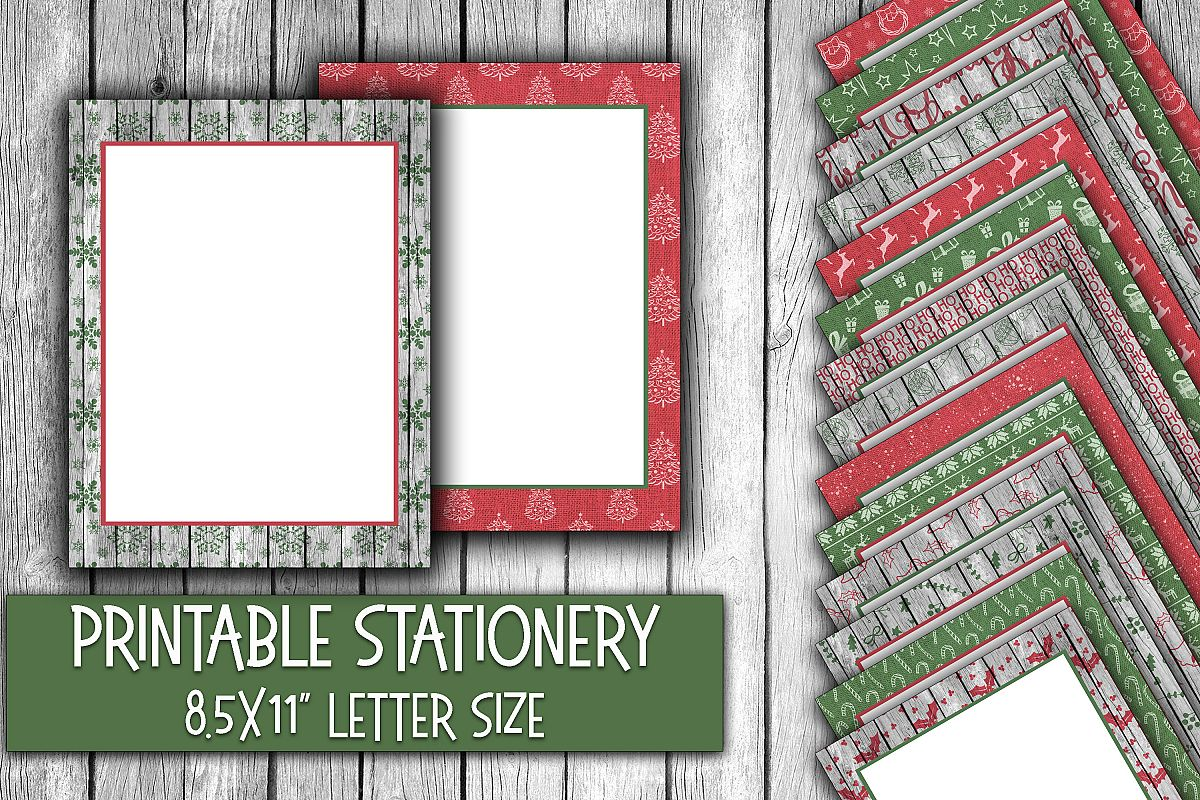 Christmas Stationery - Rustic Christmas Digital Paper example image 1
