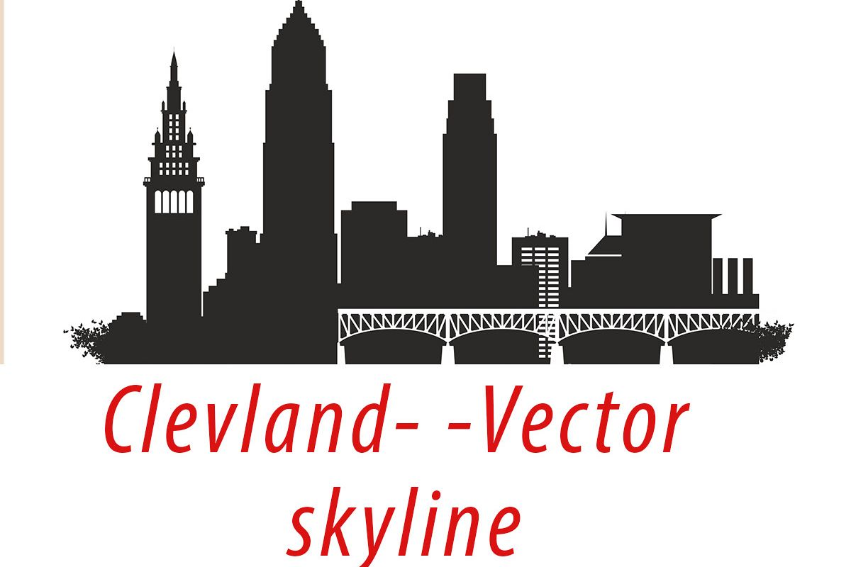 Cleveland Vector, Ohio Skyline USA city, SVG, JPG, PNG, DWG, CDR, EPS, AI example image 1