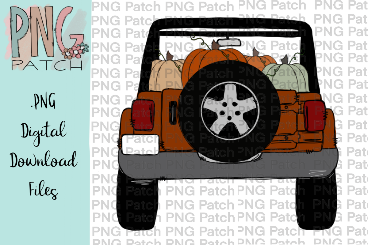 Burnt Orange Topless SUV with Pumpkins, Fall PNG File example image 1