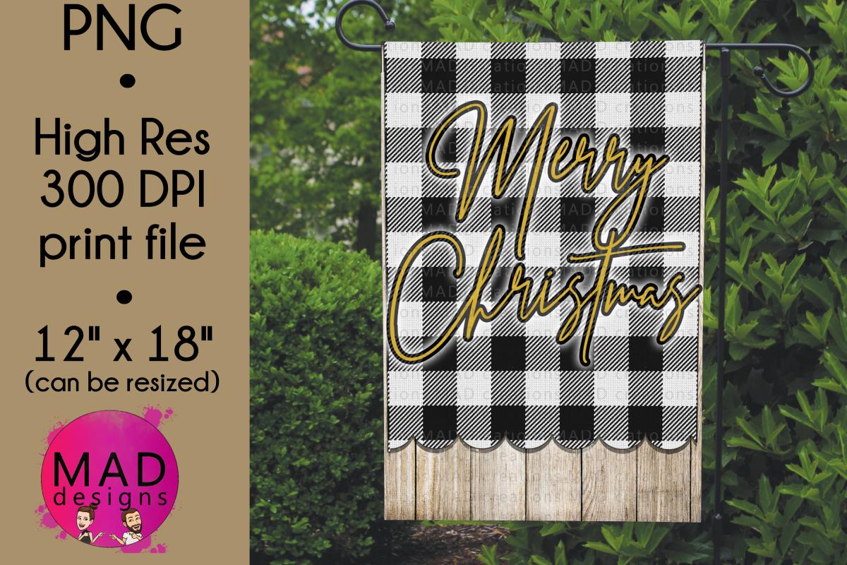 Merry Christmas - Buffalo Plaid - Garden Flag PNG example image 1