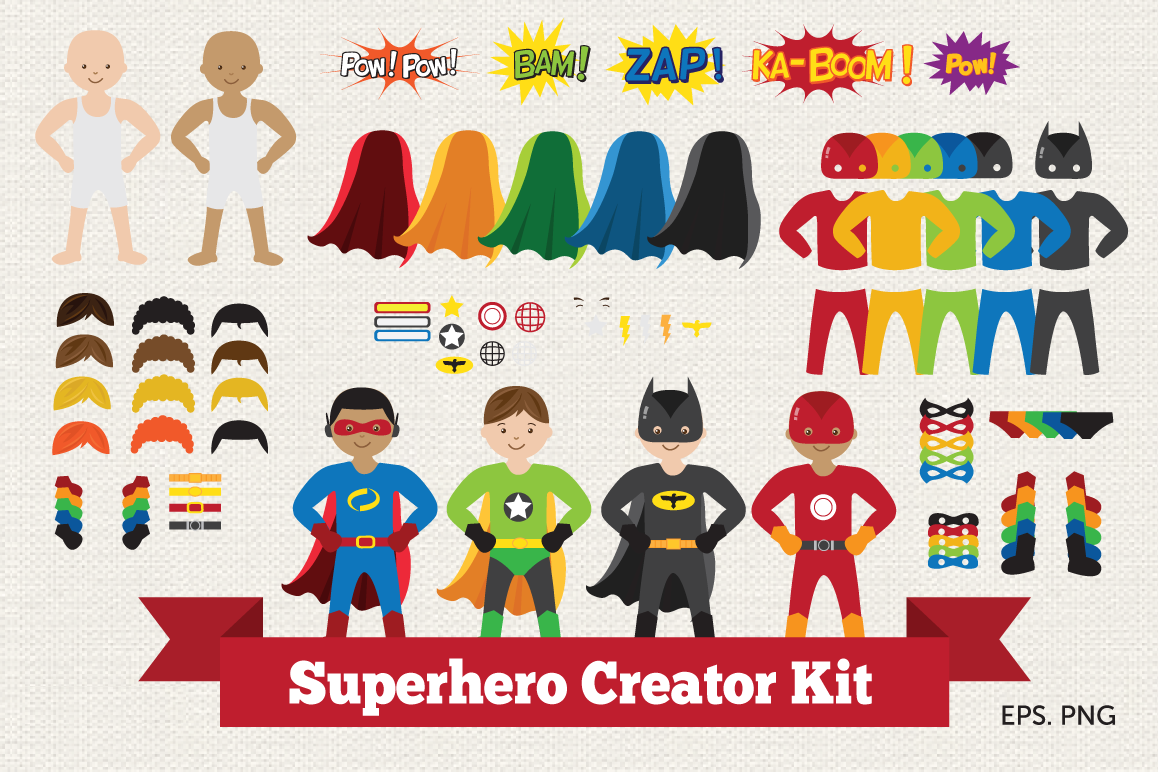 Superhero Creator Kit Clipart example image 1