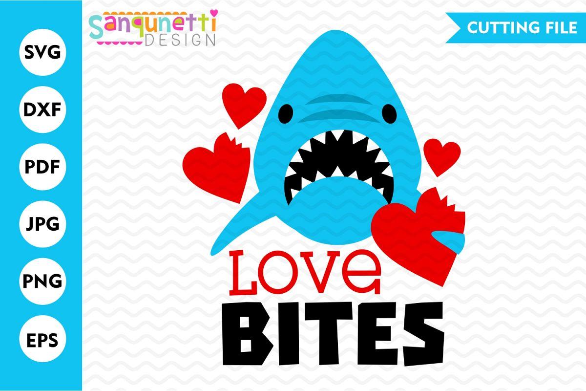 Love Bites Valentine SVG, Shark cutting file for boys example image 1
