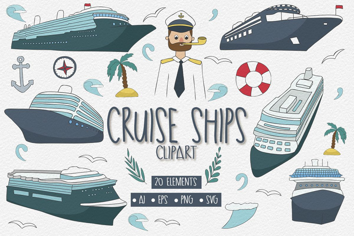 20 Cruise Ships Clipart Elements example image 1