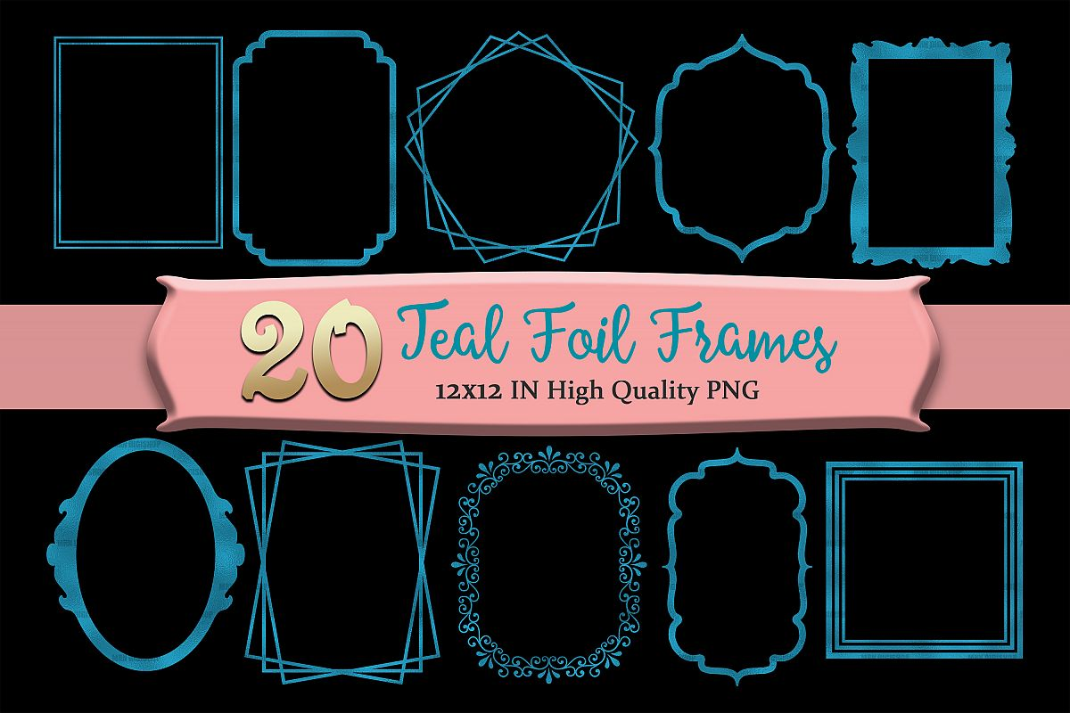 Teal Frames Clipart Set of 20 example image 1