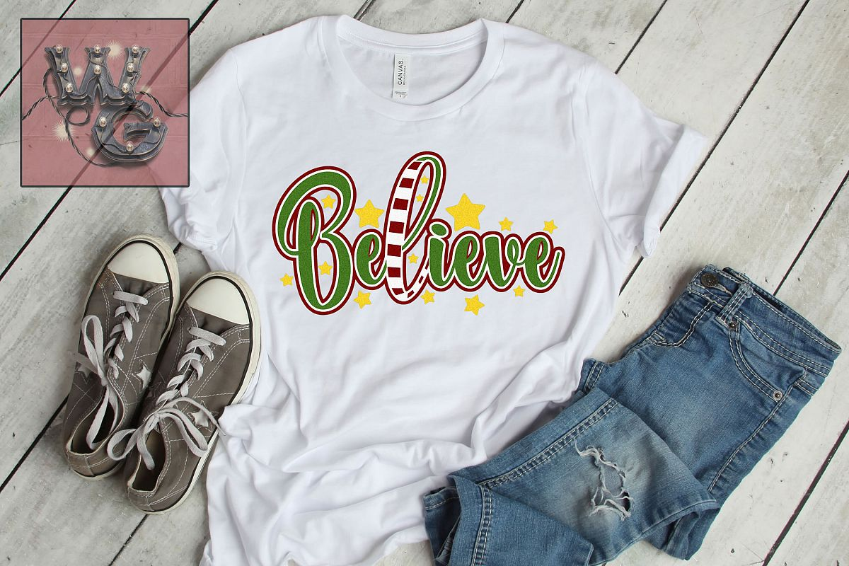 Believe Christmas Design SVG DXF PNG JPG Comm example image 1