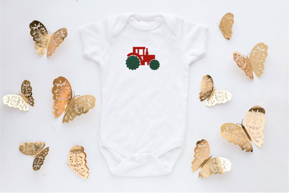 Tractor Applique Embroidery Design, Baby Embroidery Pattern example image 1