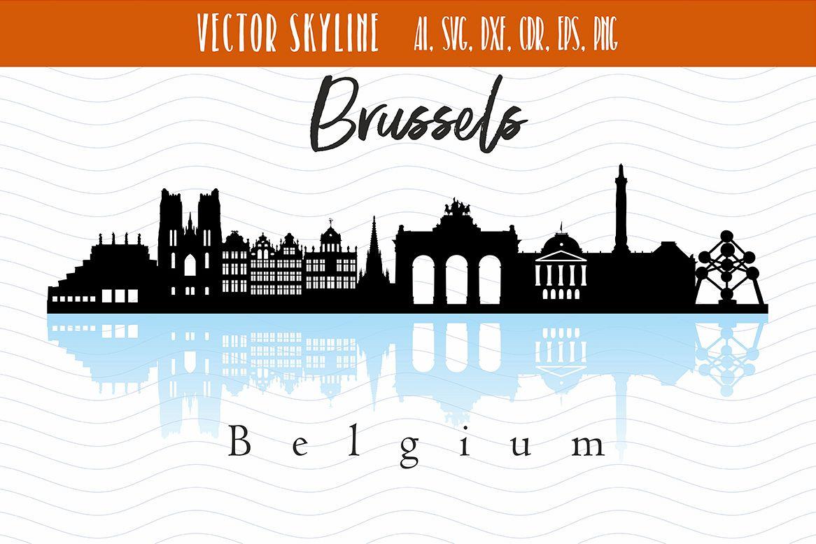 Brussels City Skyline SVG example image 1