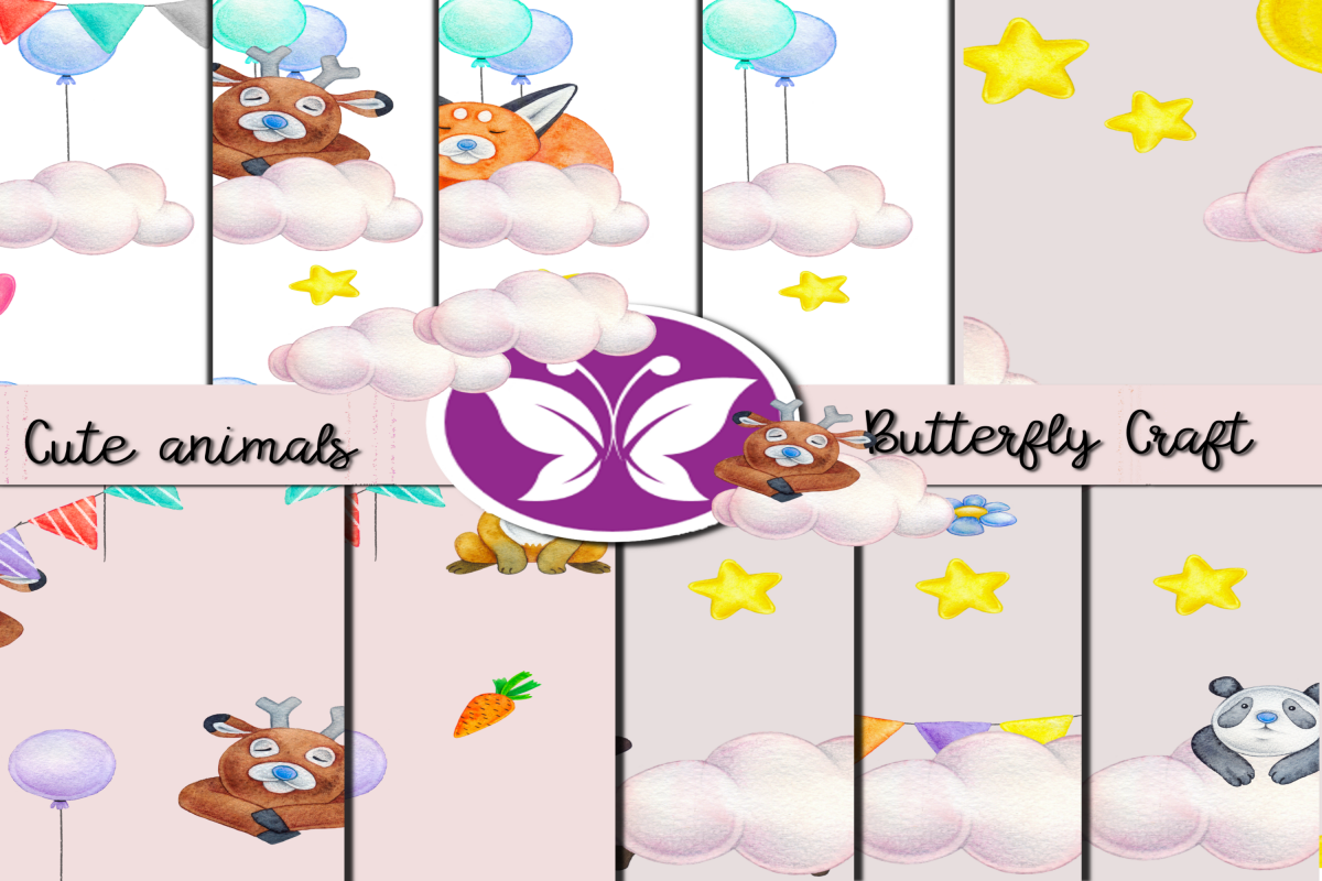 CUTE ANIMALS collection , Animals Digital Paper example image 1