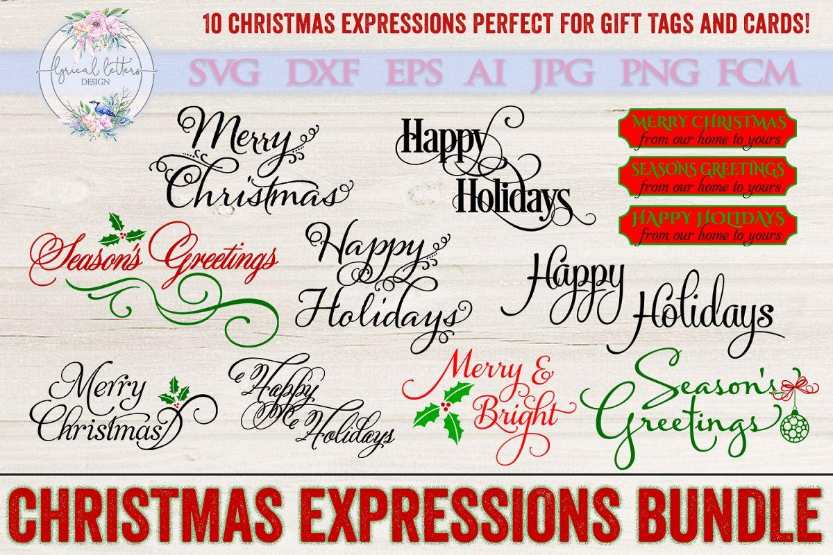 Christmas Expressions.Christmas Expressions Bundle Of 10 Svg Dxf Fcm Cut Files