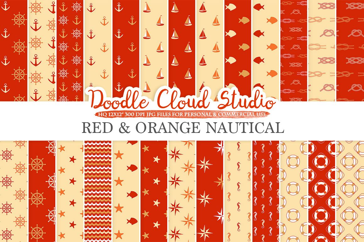Red and Orange Nautical digital paper, Seal patterns Ocean Steering wheel Sea waves Anchor Gold backgrounds for Personal & Commercial Use example image 1