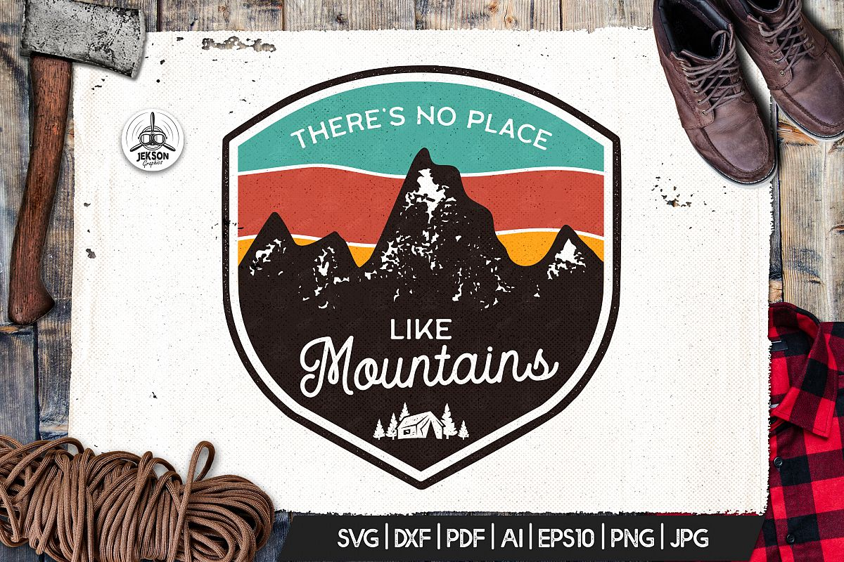 Mountains Logo, Retro Adventure Badge T-Shirt SVG Cut File example image 1