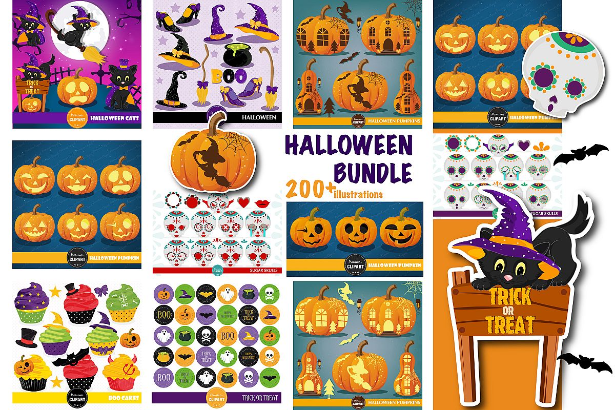 Halloween bundle, Halloween illustrations, Halloween pumpkin example image 1