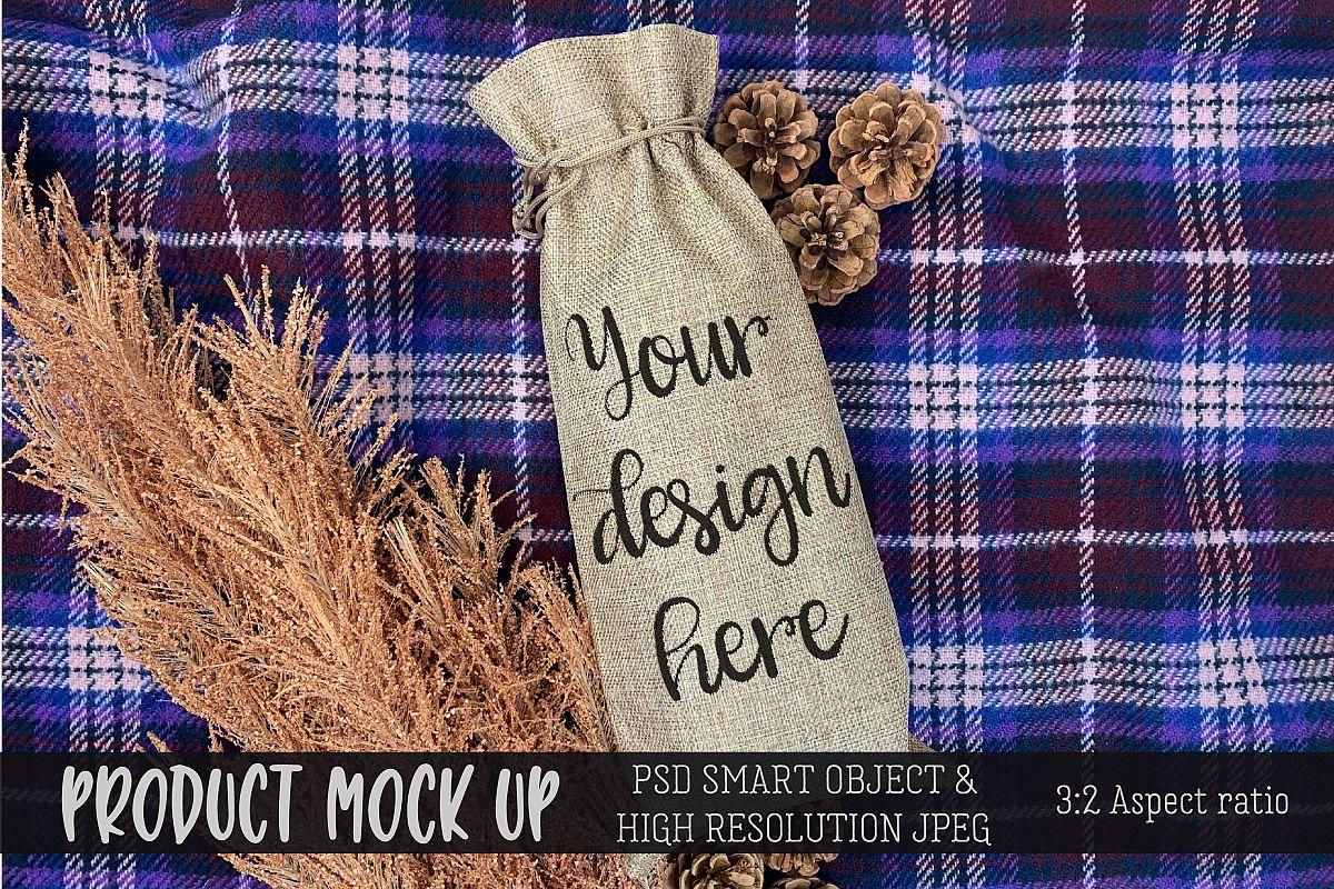 Wine Gift Bag cozy Craft mock up | PSD & JPEG example image 1