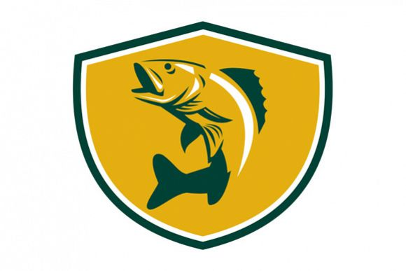 Walleye Fish Jumping Crest Retro example image 1