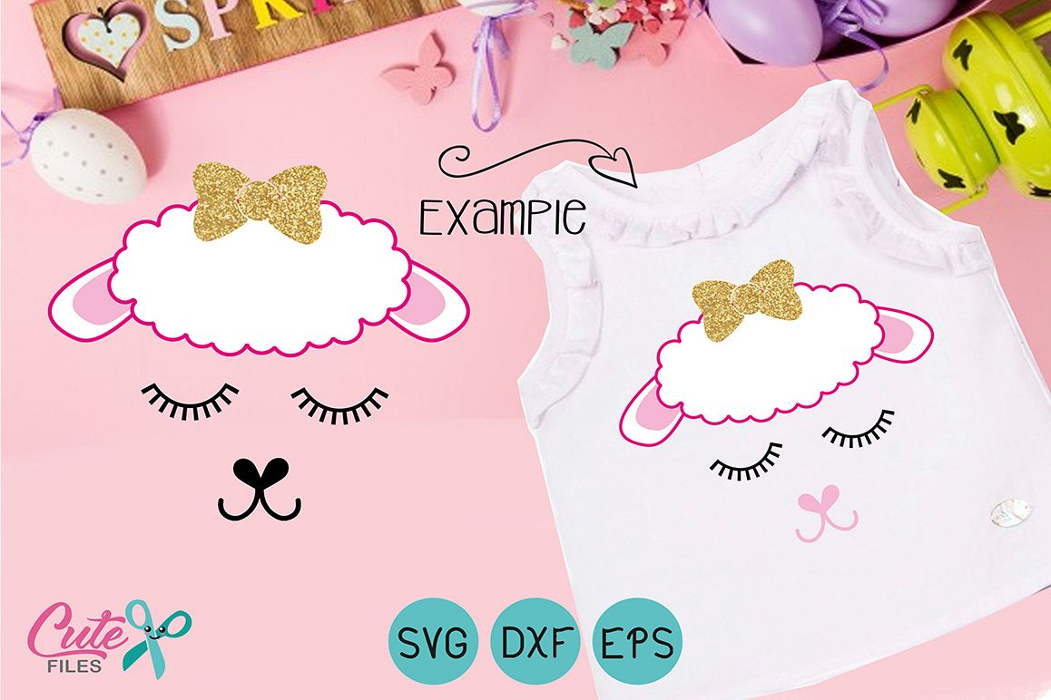 Easter Lamb face with eyelashes svg example image 1