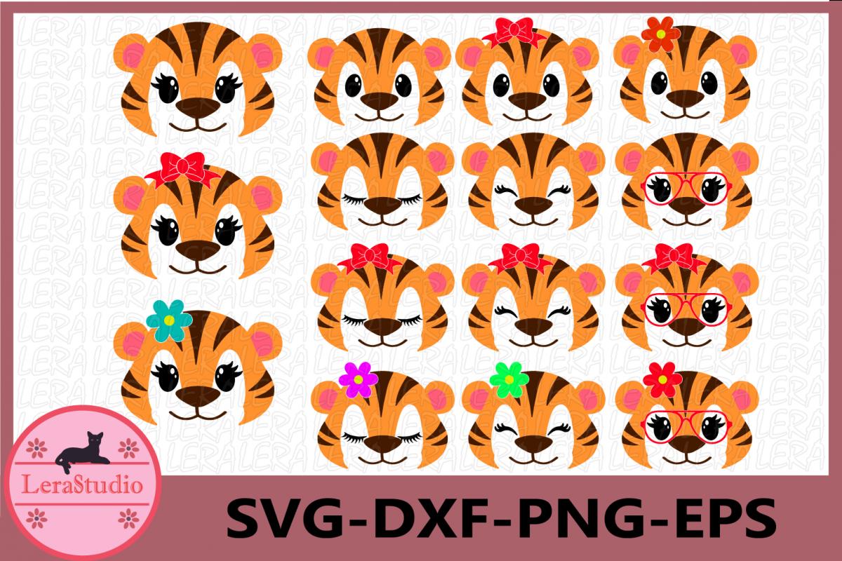 Tiger Face SVG, Safari Animal face svg, Tiger Eyelashes Face example image 1