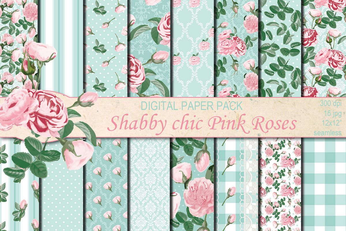 Shabby chic pink roses seamless patterns example image 1