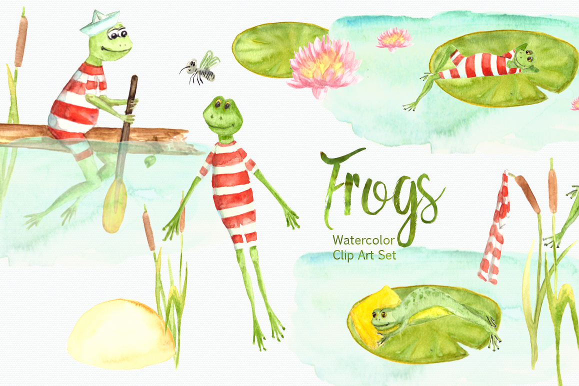 Watercolor Frogs Clip Art Set example image 1