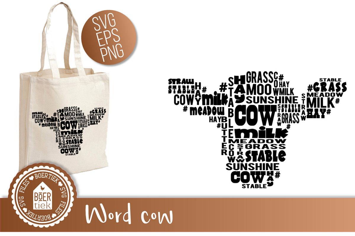 Cow with words, SVG cutting file example image 1