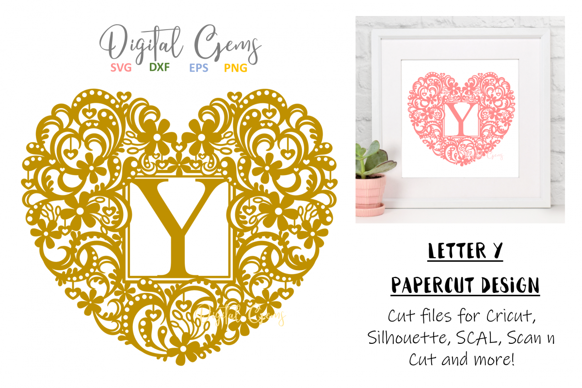 Letter Y paper cut design. SVG / DXF / EPS / PNG files example image 1