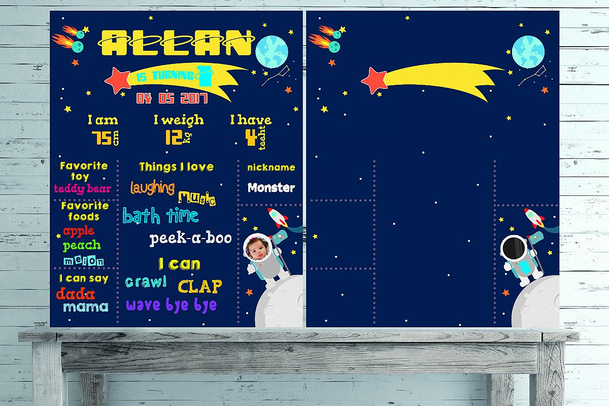 Space Birthday chalkboard template example image 1