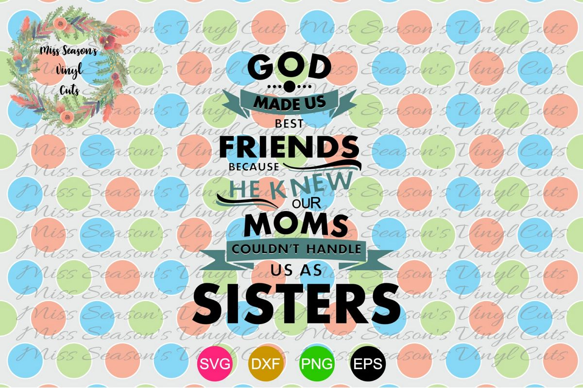 God Made Us friends SVG, EPS, PNG, DXF example image 1