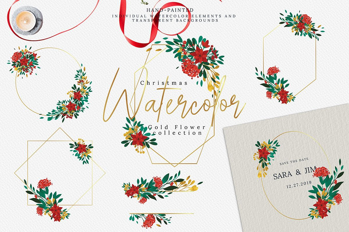 Christmas Watercolor Gold Flower collection example image 1