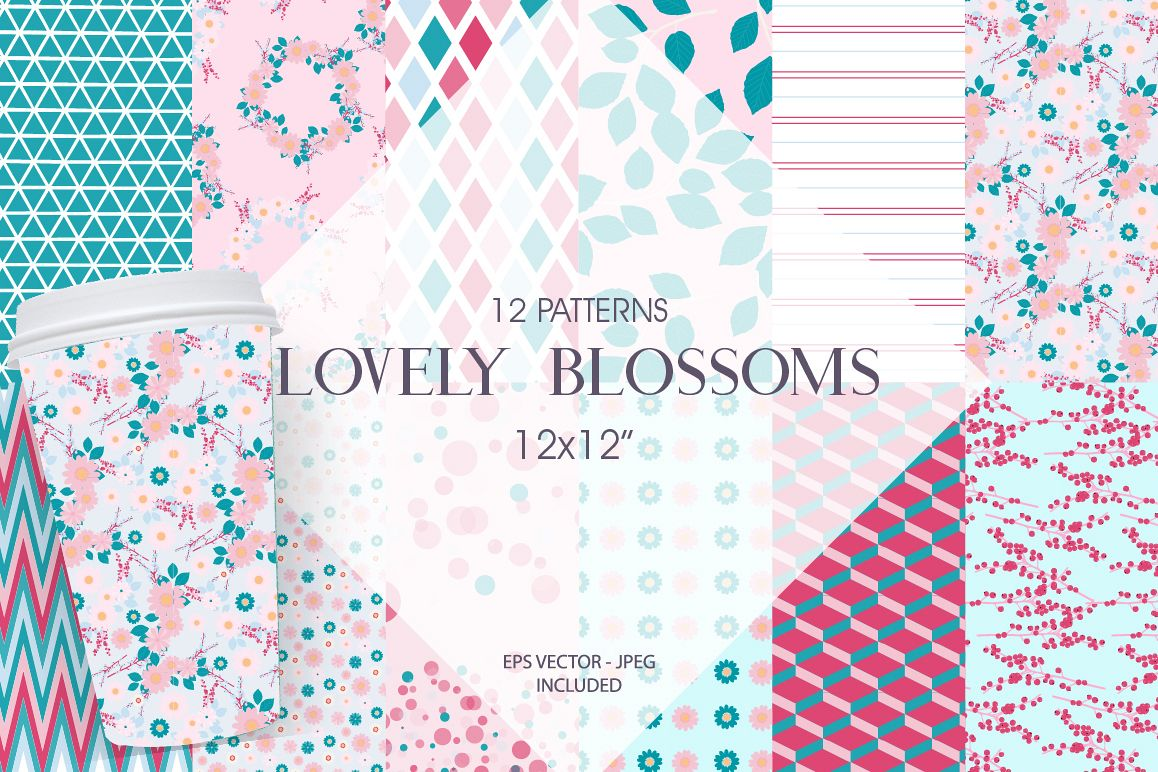 Lovely Blossoms Pattern collection, vector ai, eps and jpeg example image 1