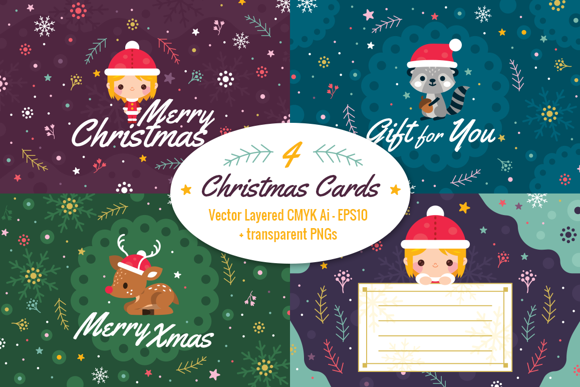 4 Christmas Cards, invitation flyer example image 1