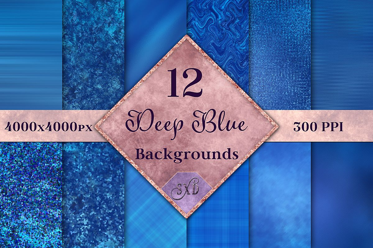 Deep Blue Backgrounds - 12 Image Textures Set example image 1