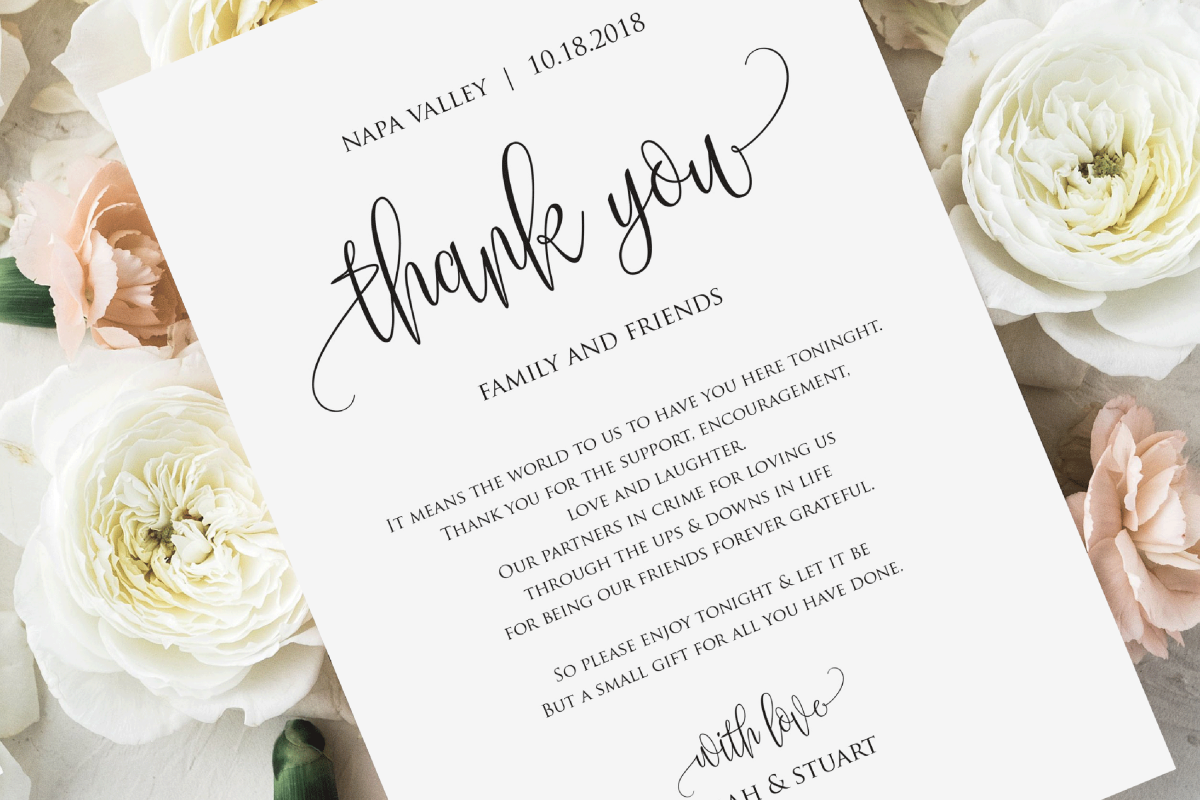 wedding thank you note thank you card thank you letter