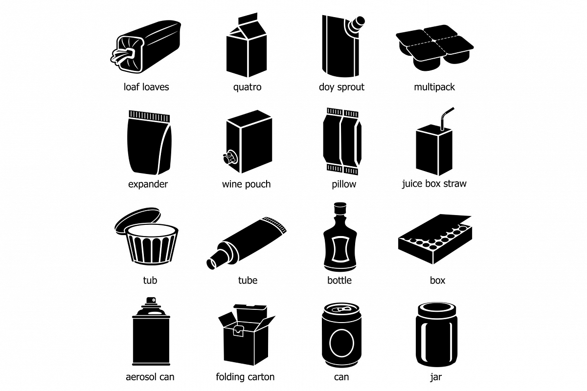 Package types icons set, simple style example image 1