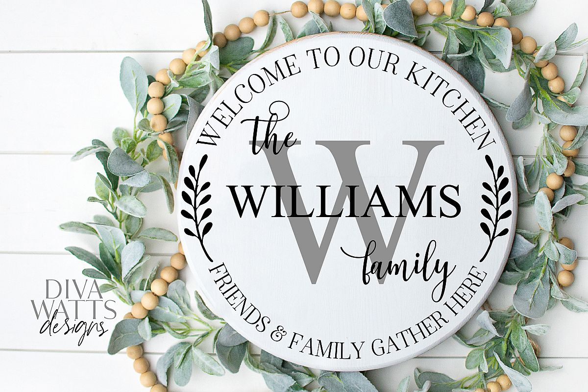 Kitchen Monogram Sign - Friends & Family Gather Here - SVG example image 1