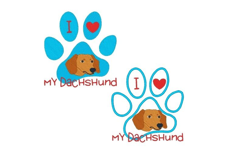 Dachshund Paw Print Machine Embroidery Design Set of 2 example image 1