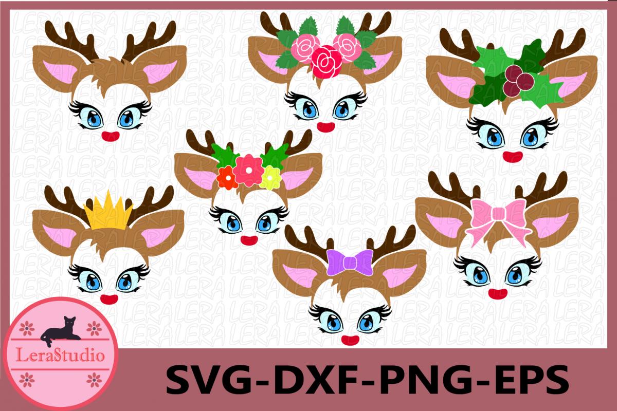 Little Deer face Svg, Deer with eyelashes, Little Deer svg example image 1