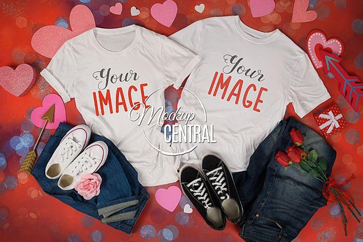 Couple Matching White T-Shirt Styled Valentine Mockup example image 1