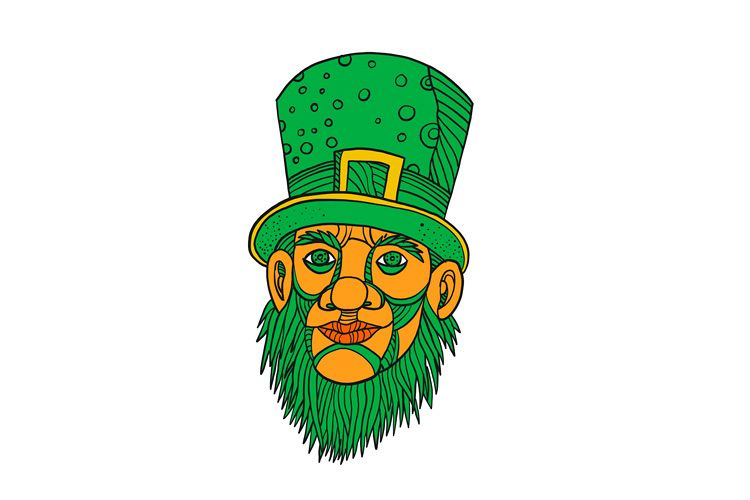 Irish Leprechaun Mono Line Color example image 1