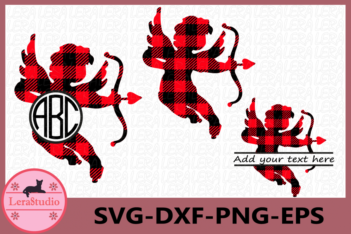 Cupid Svg, Buffalo Plaid Svg, Cupid Monogram Split Svg example image 1