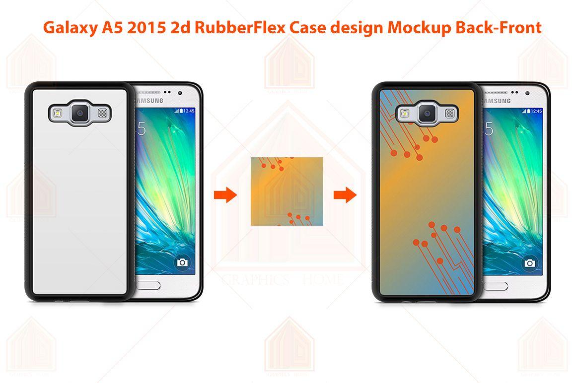 Galaxy A5 2015 2d RubberFlex Case Design Mockup Back-Front example image 1