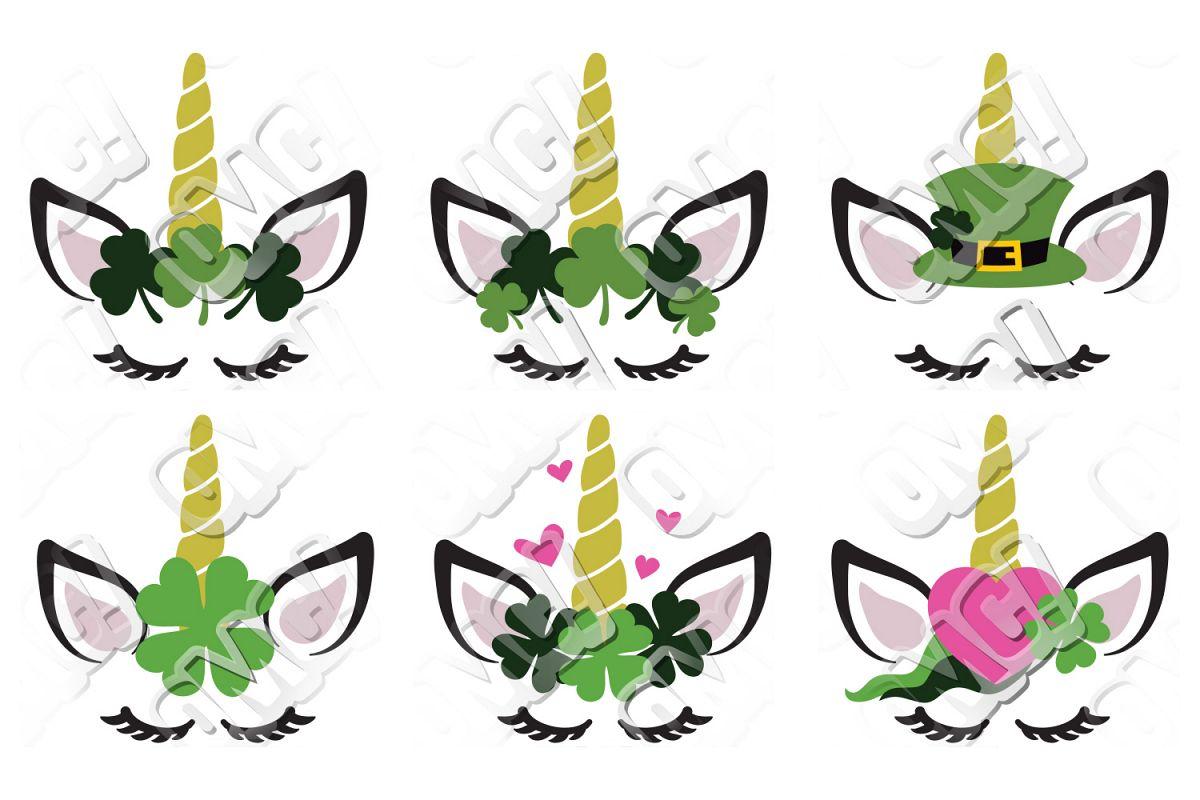 Unicorn Face Eyelash St. Patrick's Day SVG example image 1