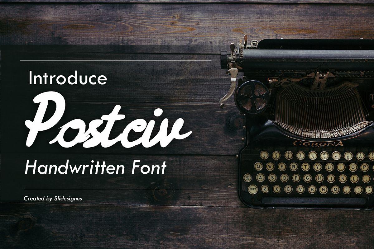 Postciv Script Font example image 1