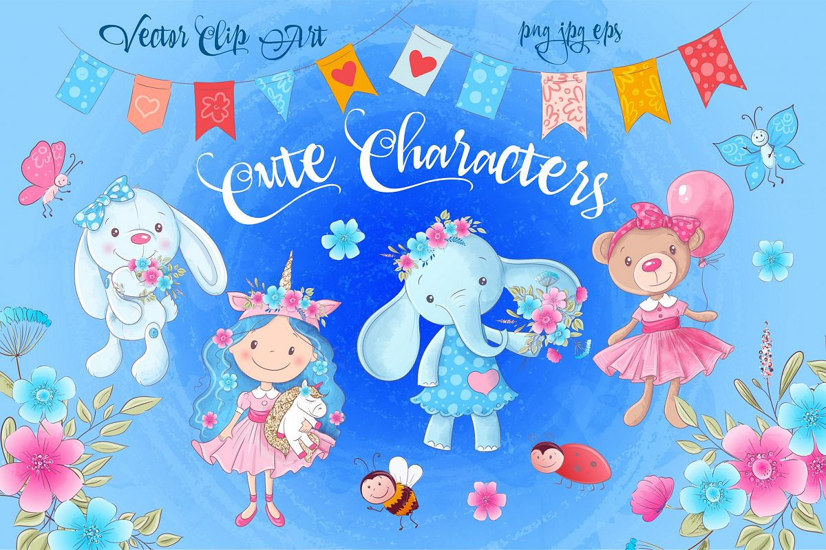 Cute Characters vector clip art example image 1