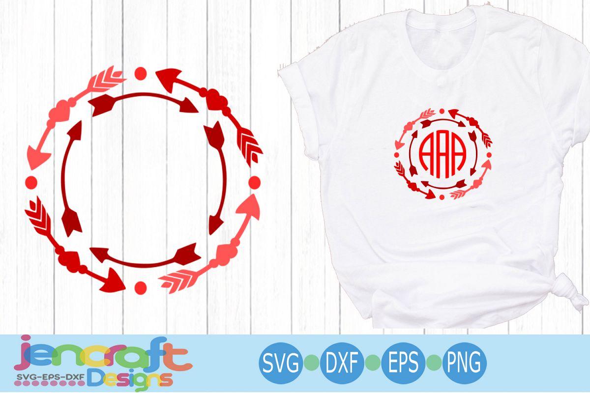 Valentine Heart SVG - Arrow Valentine monogram SVG Frames example image 1