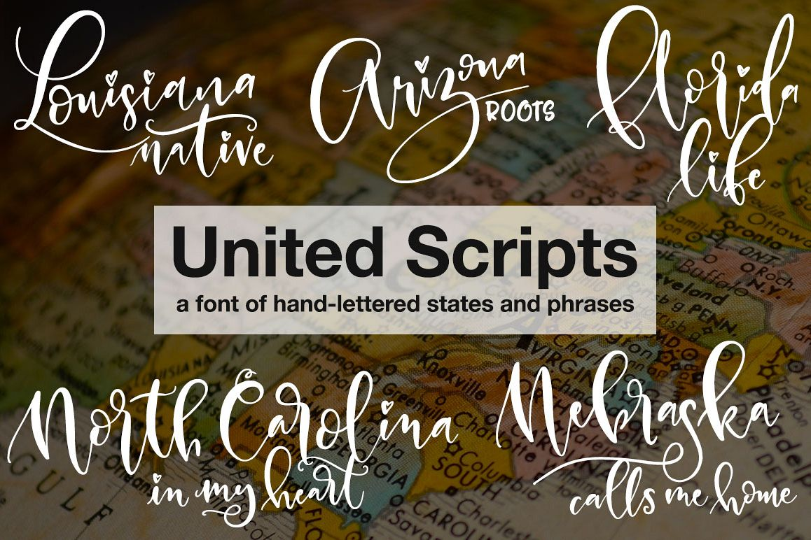 United Scripts - a font of states! example image 1