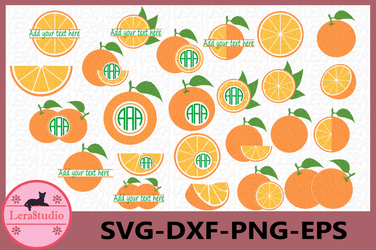 Orange SVG, Orange Monogram Svg, Circle Frames, Silhouette example image 1