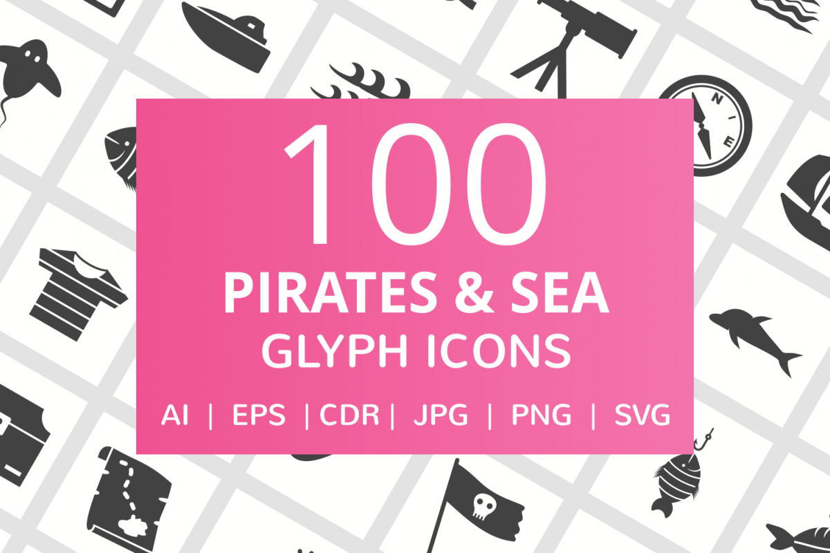 100 Pirate & Sea Glyph Icons example image 1