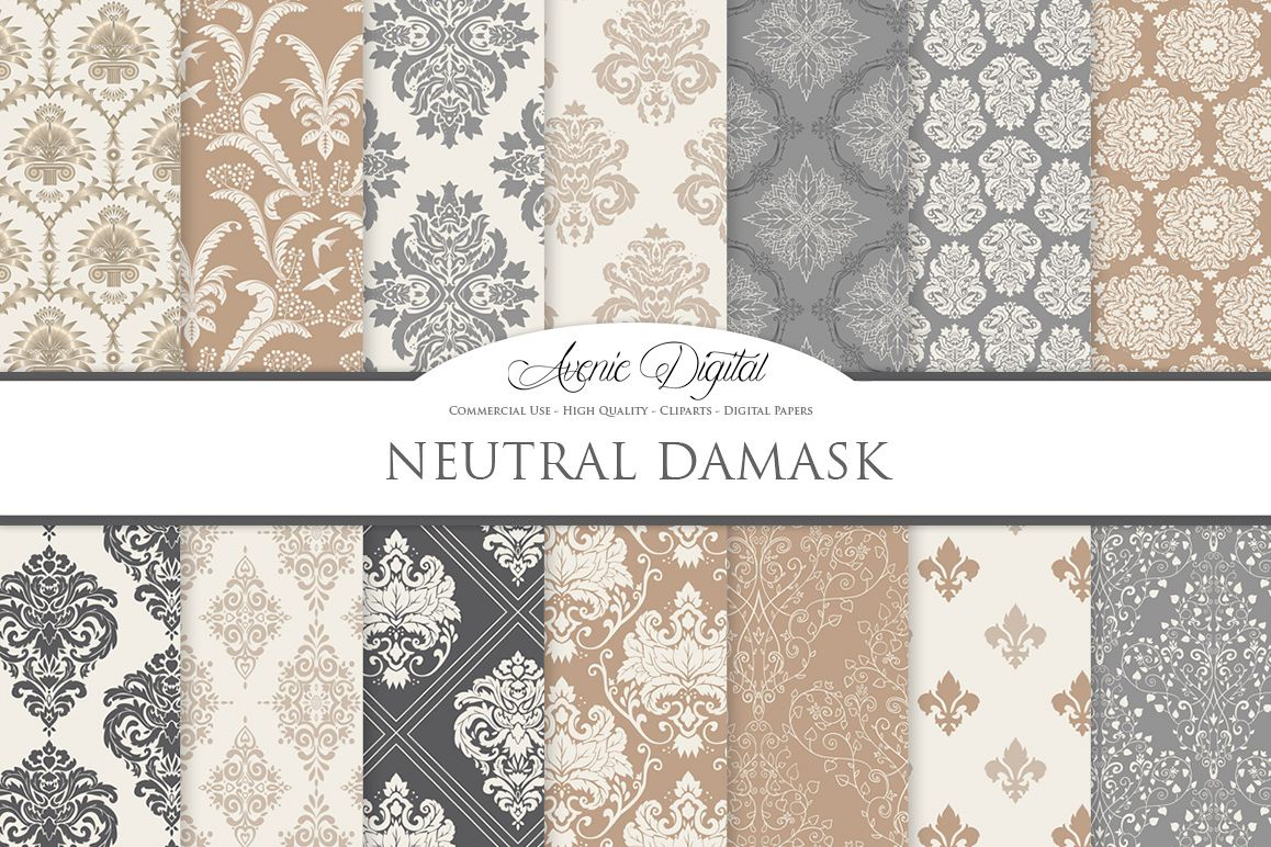 28 Neutral Damask Patterns - Wedding Seamless Digital Papers Bundle example image 1