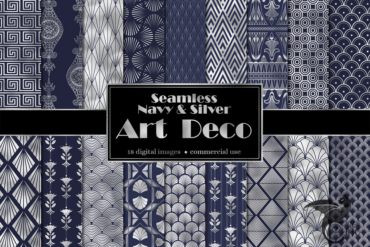 Navy and Silver Art Deco Digital Paper example image 1